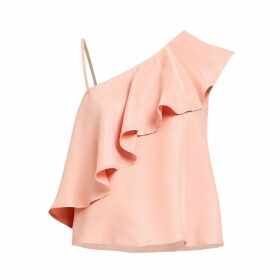 PAISIE - Asymmetric Top With One Shoulder Frills In Dusty Pink