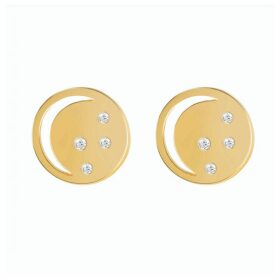 Neola - Gold Eclipse Studs With White Topaz
