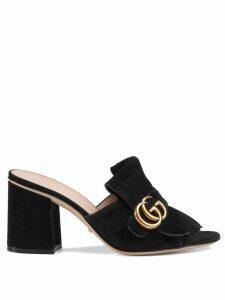 Gucci Suede mid-heel slide - Black