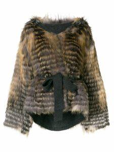 Liska hooded ur coat - Grey