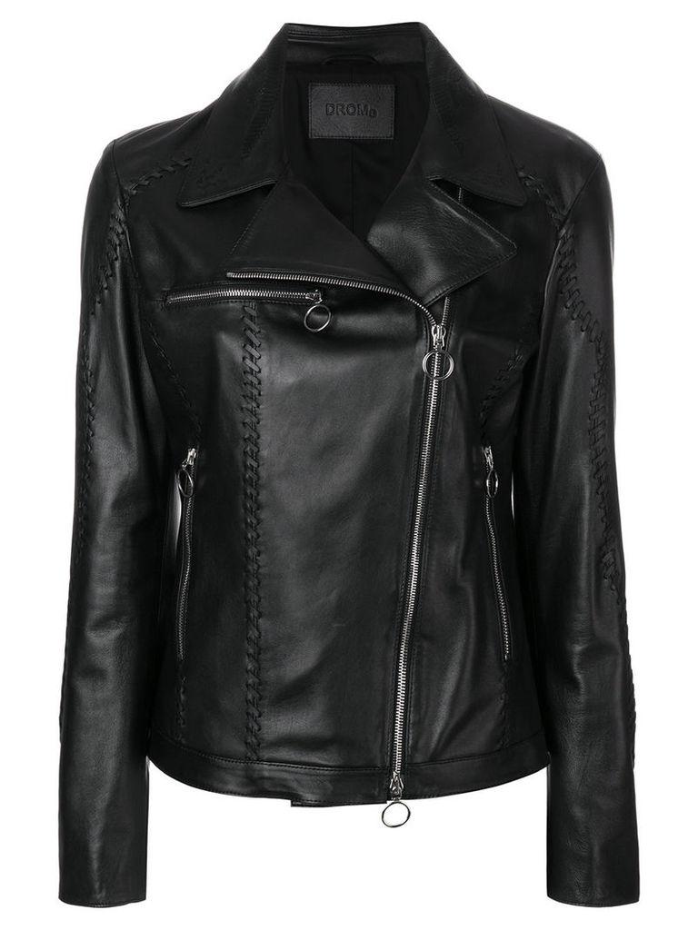 Drome lace-up detail biker jacket - Black