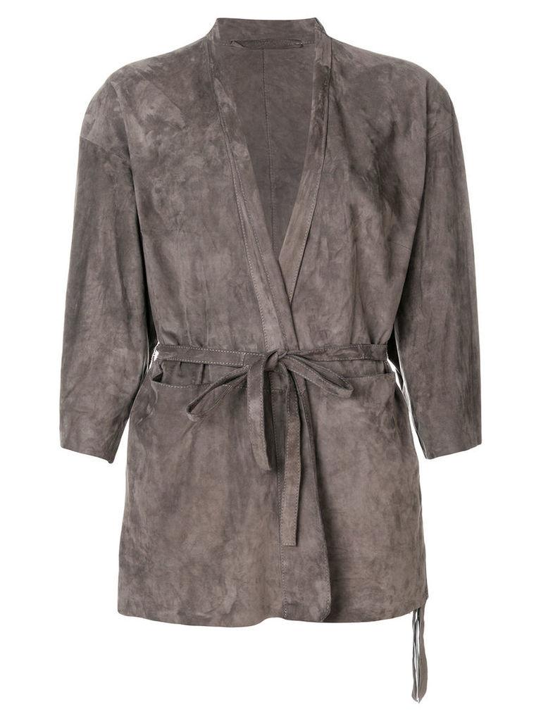 Salvatore Santoro belted wrap jacket - Grey