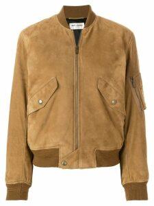 Saint Laurent lambskin bomber jacket - Brown