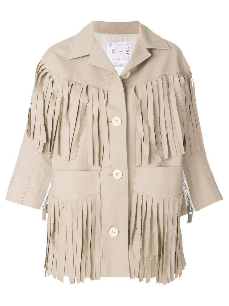 Sacai fringed jacket - Nude & Neutrals