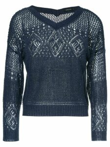 Loveless crochet V-neck sweater - Blue