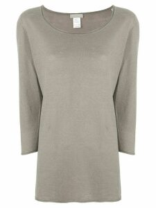 Le Tricot Perugia scoop neck cropped sleeve sweater - Brown