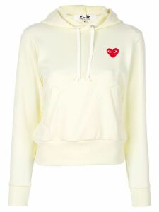 Comme Des Garçons Play logo patch hoodie - White