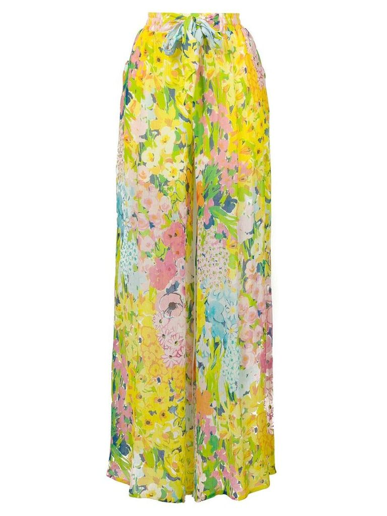 Boutique Moschino floral palazzo pants - Yellow & Orange