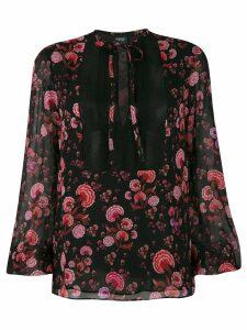 Giambattista Valli floral print tie neck blouse - Black