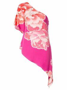 Josie Natori peoony georgette waterfall blouse - PINK