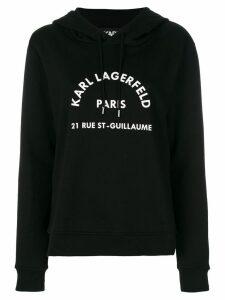 Karl Lagerfeld logo print hoodie - Black