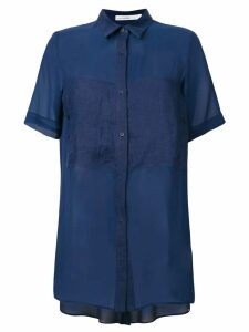 Gentry Portofino short-sleeved long shirt - Blue