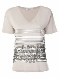 D.Exterior lace detailed T-shirt - NEUTRALS