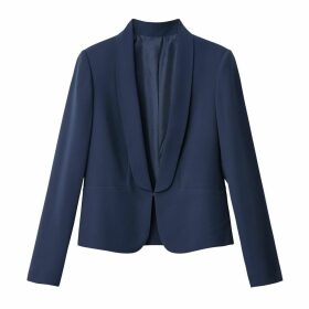 Lightweight Fitted Blazer-Style Jacket with Large Shawl Collar