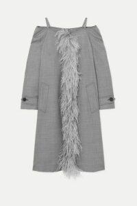 Prada - Cold-shoulder Feather-trimmed Wool-blend Coat - Gray