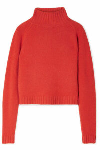 The Elder Statesman - Highland Cropped Cashmere Turtleneck Sweater - Orange