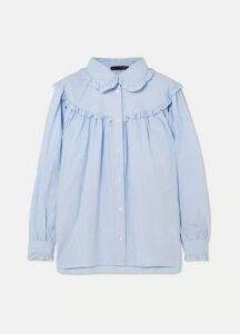 ALEXACHUNG - Ruffled Striped Cotton-poplin Shirt - Blue