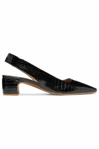 BY FAR - Danielle Lizard-effect Patent-leather Slingback Pumps - Black