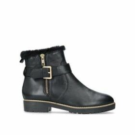 Carvela Scout - Black Leather Faux Fur Lined Ankle Boots