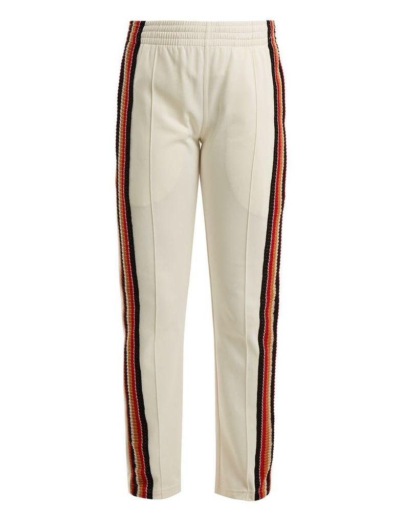 Crochet-striped track pants