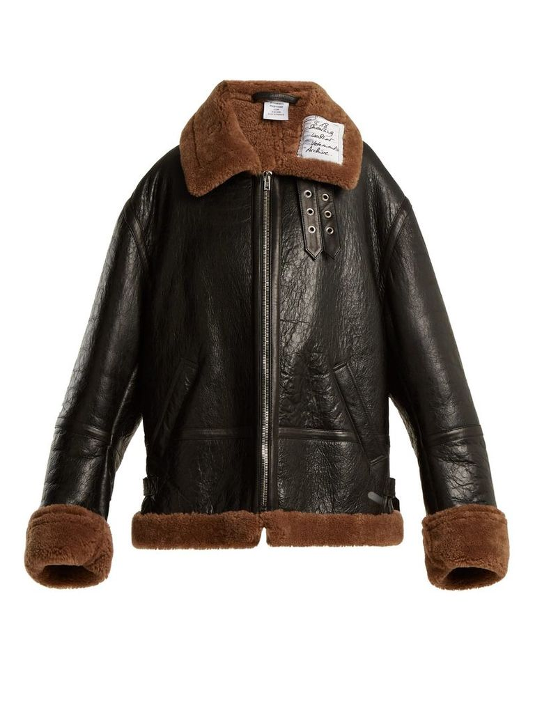 Vetements - Oversized Shearling Jacket - Womens - Brown