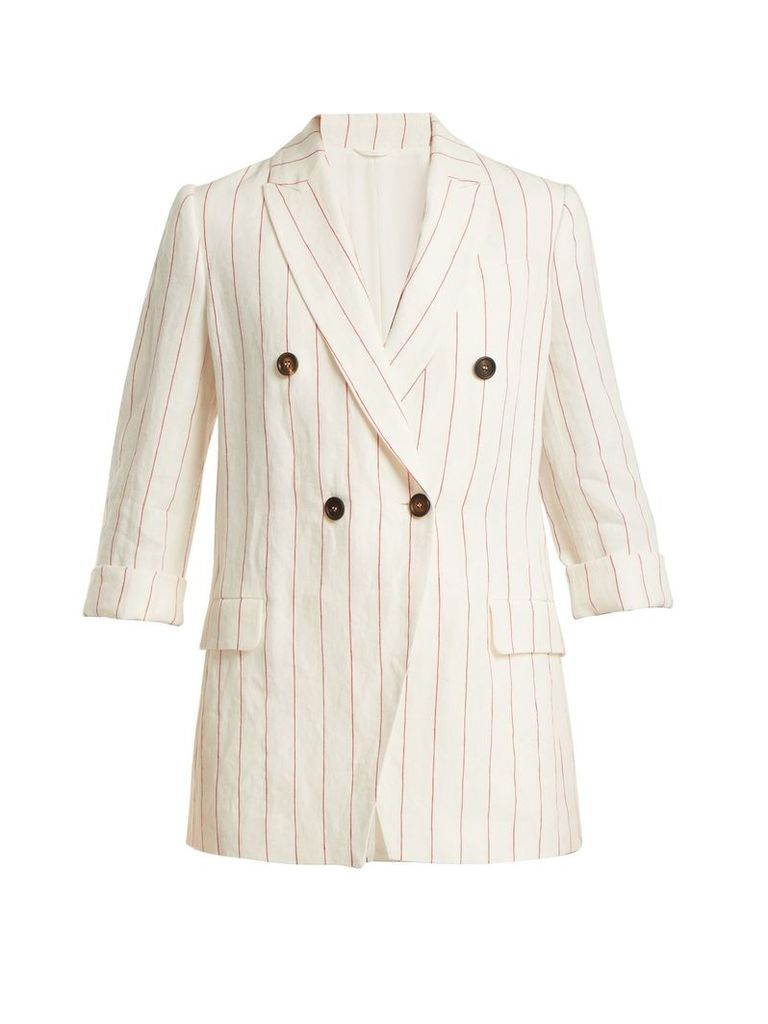 Double-breasted pinstriped linen jacket