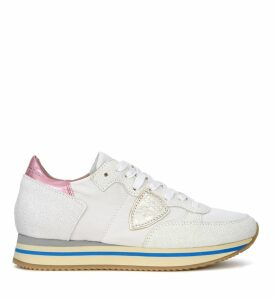 Philippe Model Tropez Higher Pink And White Fabric Sneaker