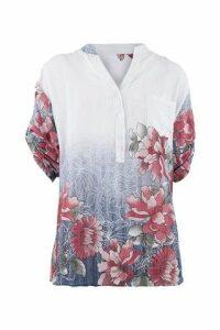 Granddad Collar Floral Blouse