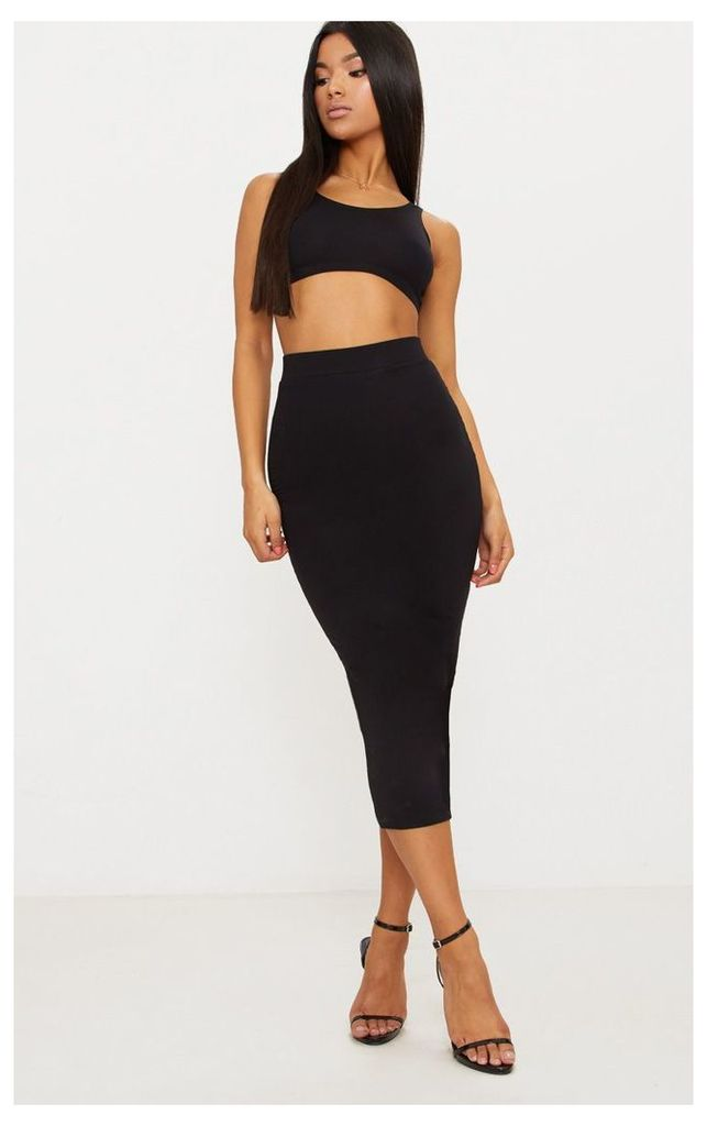 Black Second Skin Bodycon Midaxi Skirt, Black