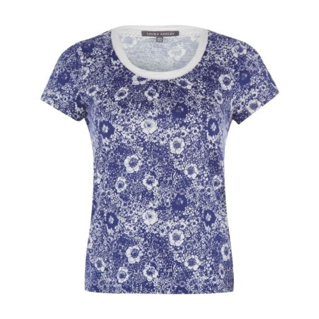 Blue Poppy Field Printed TShirt