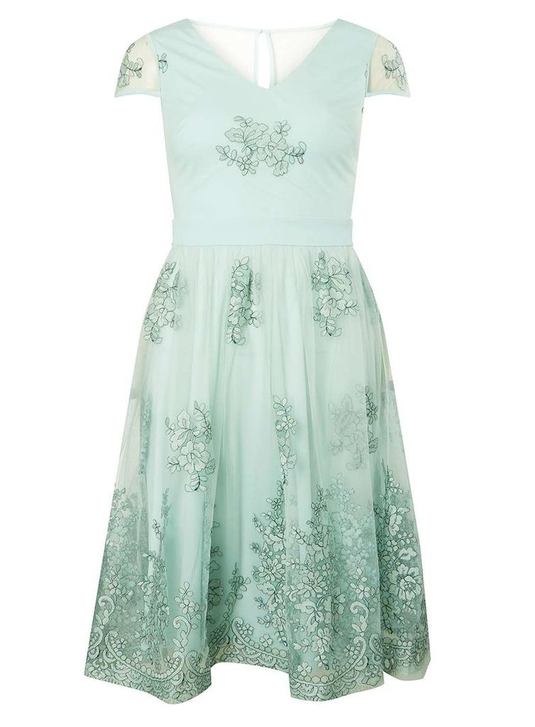 Womens Mint Embroidered Midi Prom Dress- Green