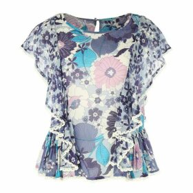 Short-Sleeved Floral Print Round Neck Blouse