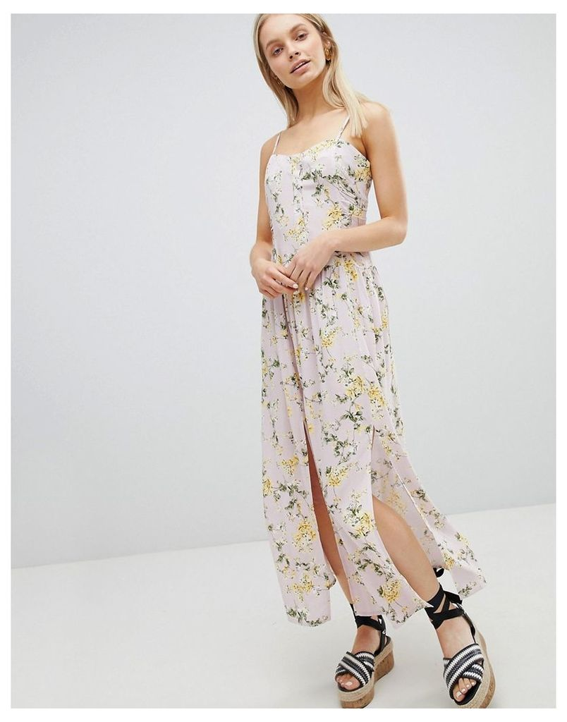 ASOS DESIGN Button Through Drop Waist Casual Maxi Dress In Ditsy Floral Print - Multi