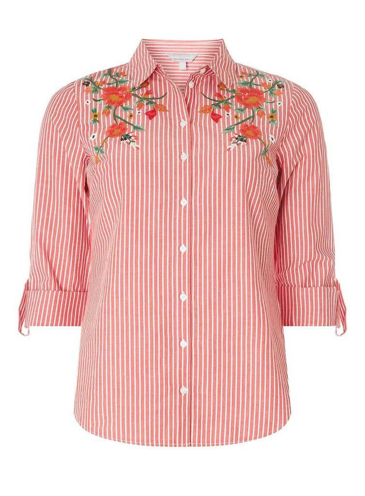 Womens Petite Red Stripe Embroidered Shirt- Red