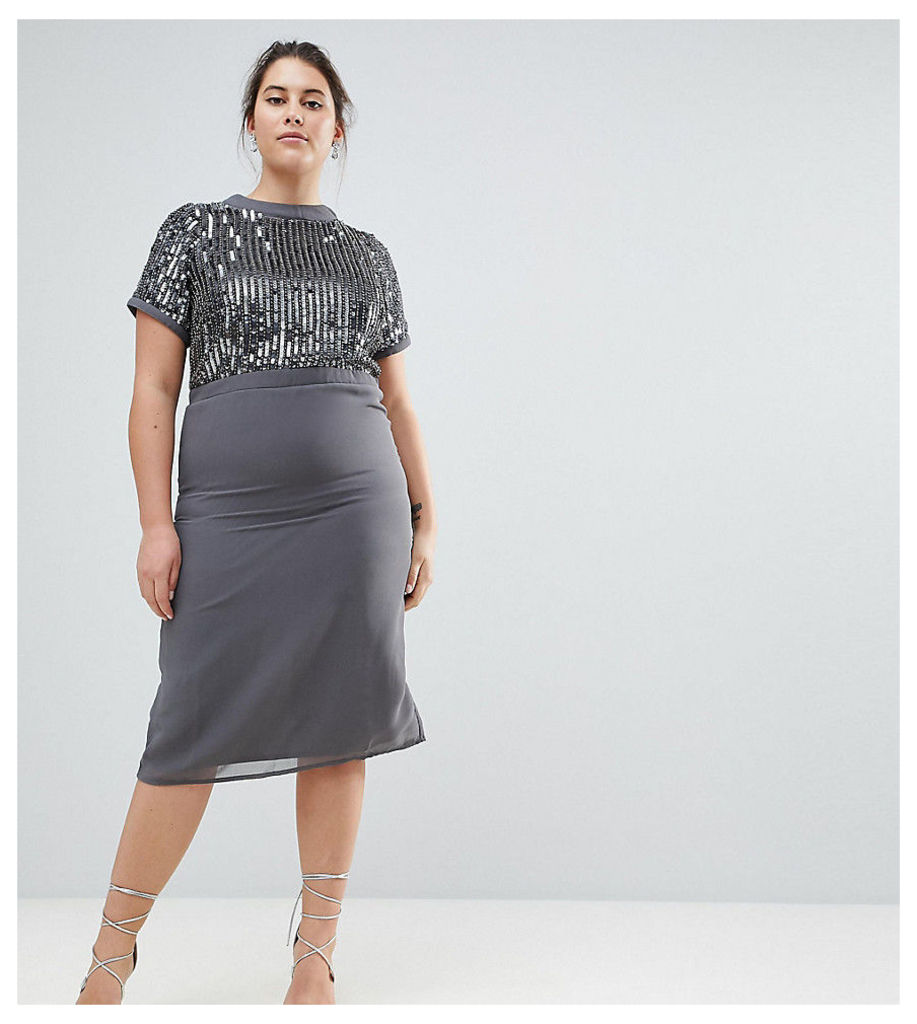 Lovedrobe Luxe Embellished Pencil Dress - Blue grey