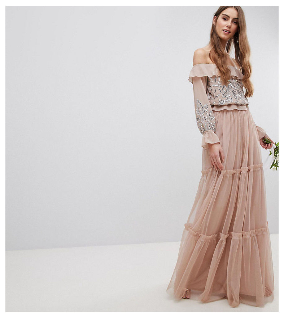 Maya Tall Premium Tulle Layered Maxi Bridemaid Skirt - Taupe blush