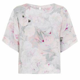 Abigail London - Silk Floral Print Anna Top With Kimono Sleeve Pink Cream