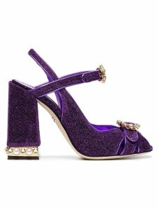 Dolce & Gabbana purple Bette 105 lurex crystal sandals