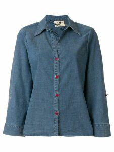 Alice+Olivia embroidered denim shirt - Blue