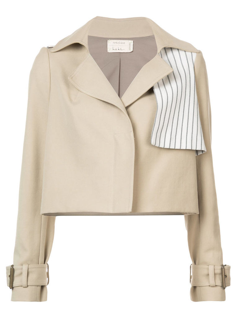 Nicole Miller cropped buckle cuff jacket - Brown