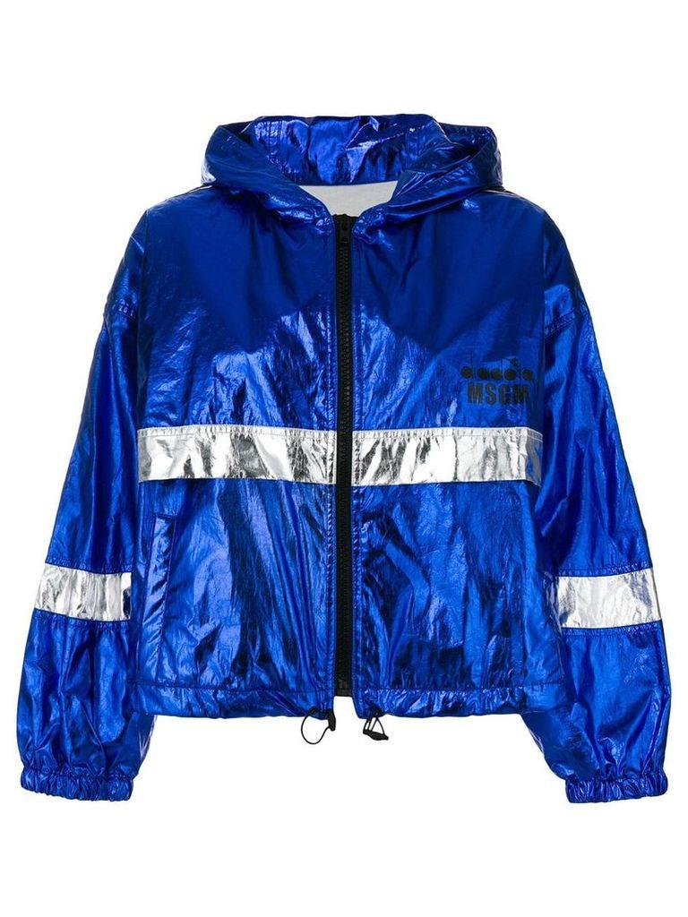 MSGM colour-block zipped jacket - Blue