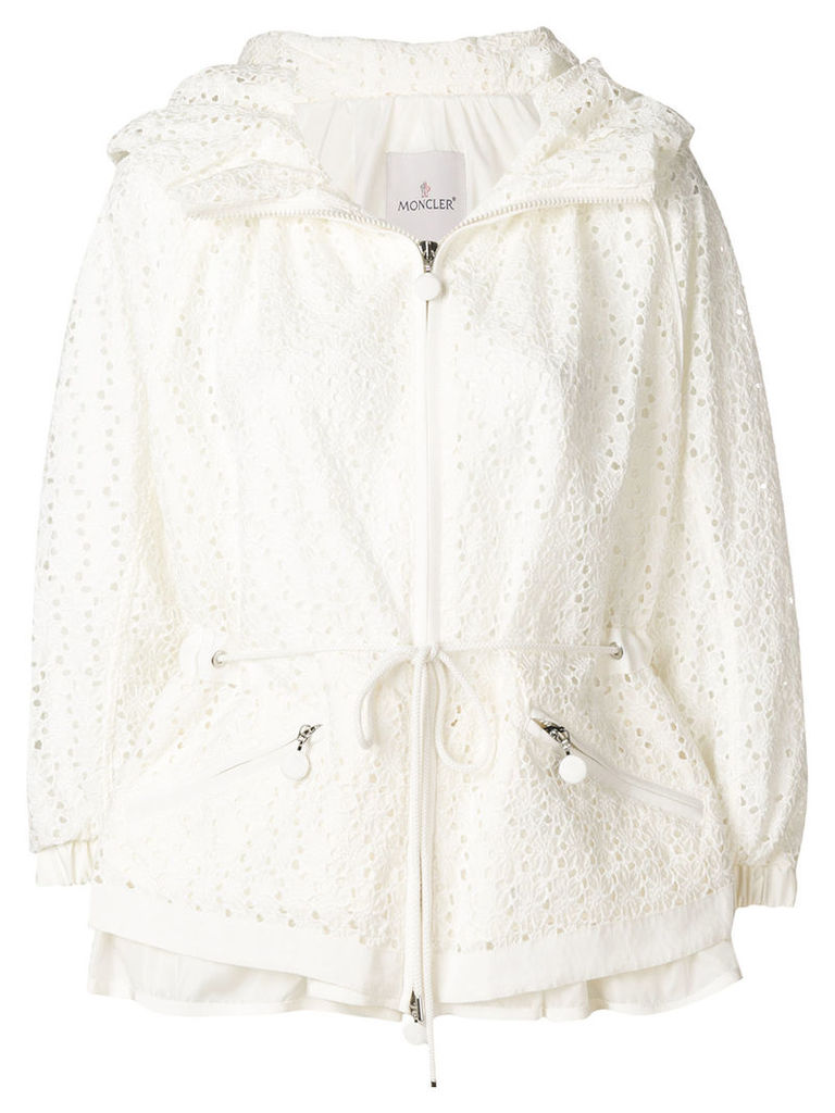 Moncler zipped embroidered jacket - White