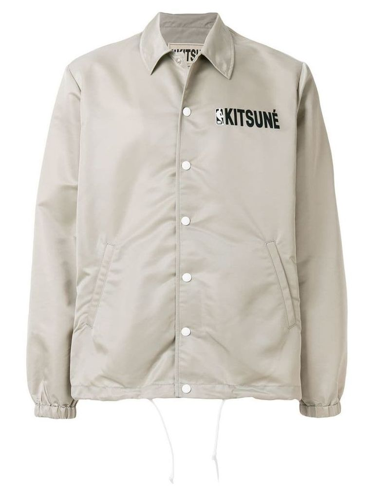 Maison Kitsuné Maison Kitsune x NBA hooded coach jacket - Grey