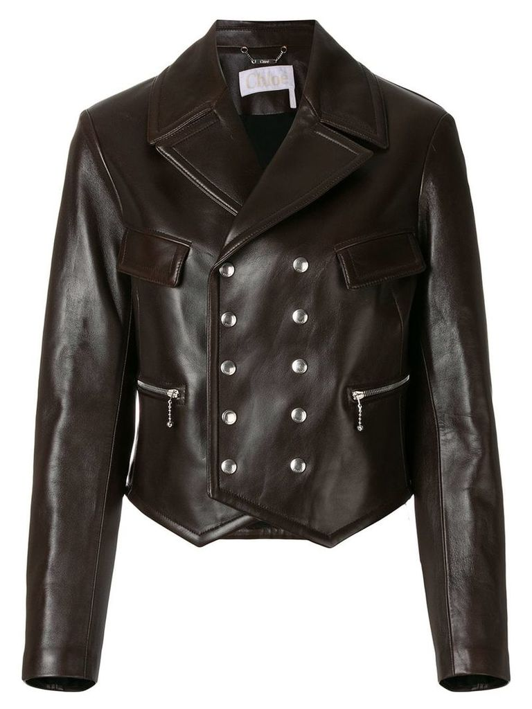 Chloé double-breasted leather jacket - Brown