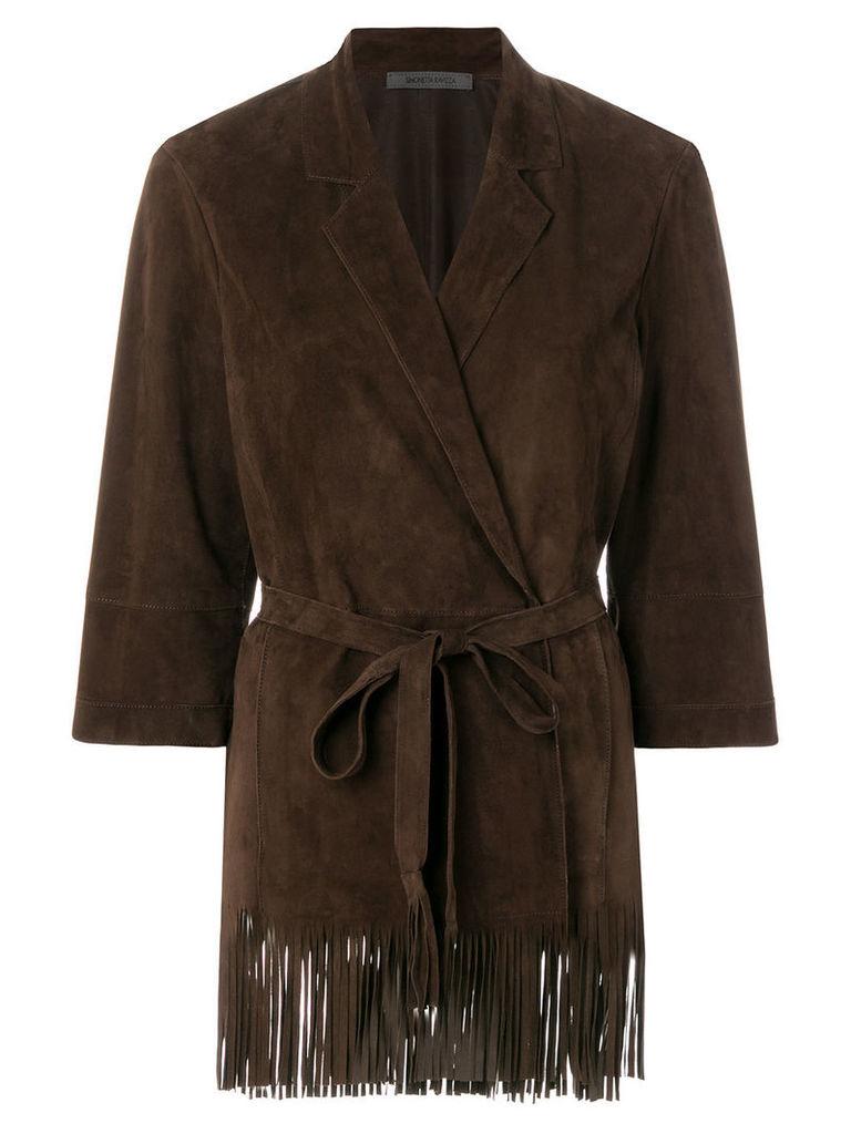 Simonetta Ravizza fringe trim wrap leather jacket - Brown