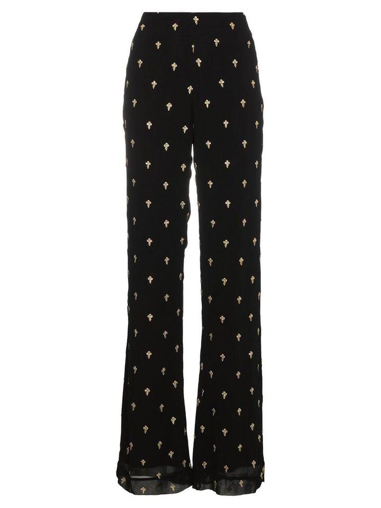 De La Vali Uma trousers with gold cross embroidery - Black