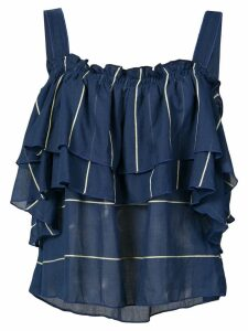 lemlem ruffled off shoulder blouse - Blue