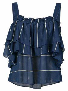 lemlem ruffled off shoulder blouse - Blue