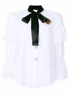 Dolce & Gabbana lace trim blouse with pussy bow - White