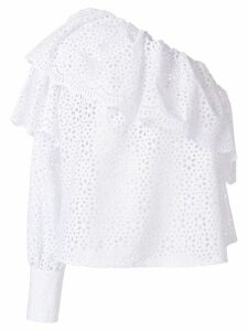 MSGM broderie anglaise ruffled blouse - White